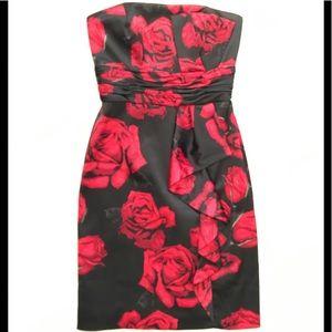 WHBM Black Satin Rose Print Strapless Sheath Dress